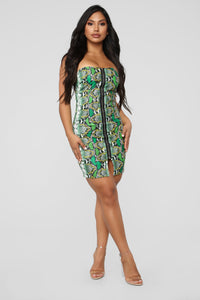Don't Fall For A Snake Tube Mini Dress - Green/Combo