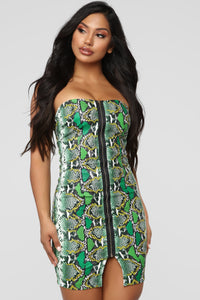 Don't Fall For A Snake Tube Mini Dress - Green/Combo Angle 1