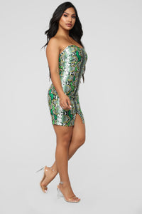 Don't Fall For A Snake Tube Mini Dress - Green/Combo Angle 3