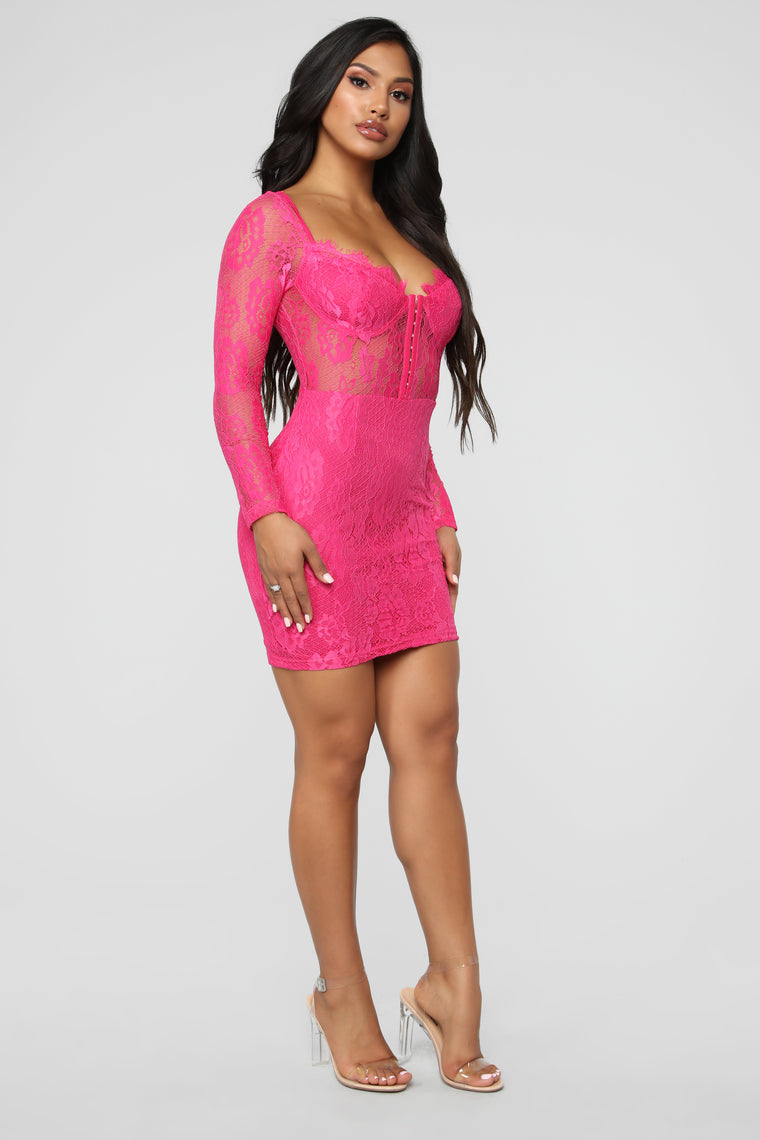 When In Rome Lace Mini Dress - Hot Pink