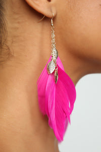 Get Up And Leaf Earrings - Hot Pink