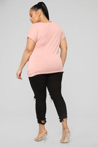Twisted V Neck Top - Rose