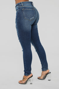 Can't Feel My Face Destructed Jeans - Medium Blue Wash