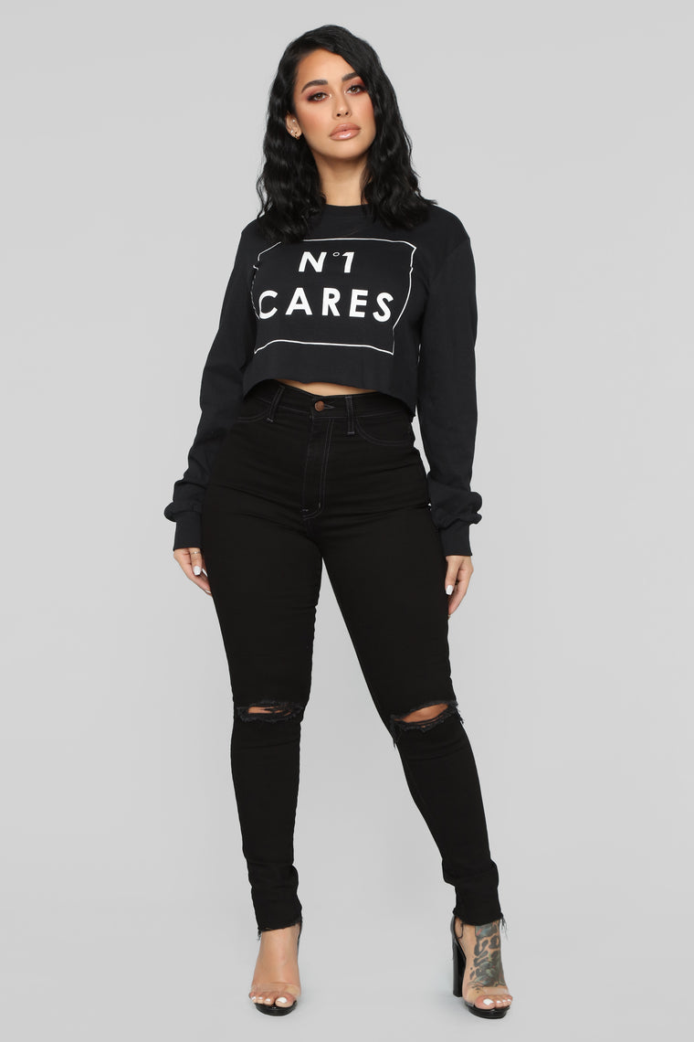 No One Cares Long Sleeve Top - Black