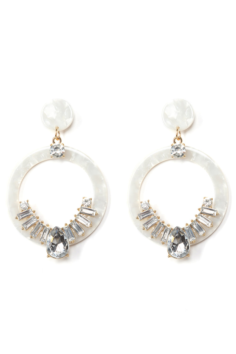 Circles And Stones Earrings - Ivory