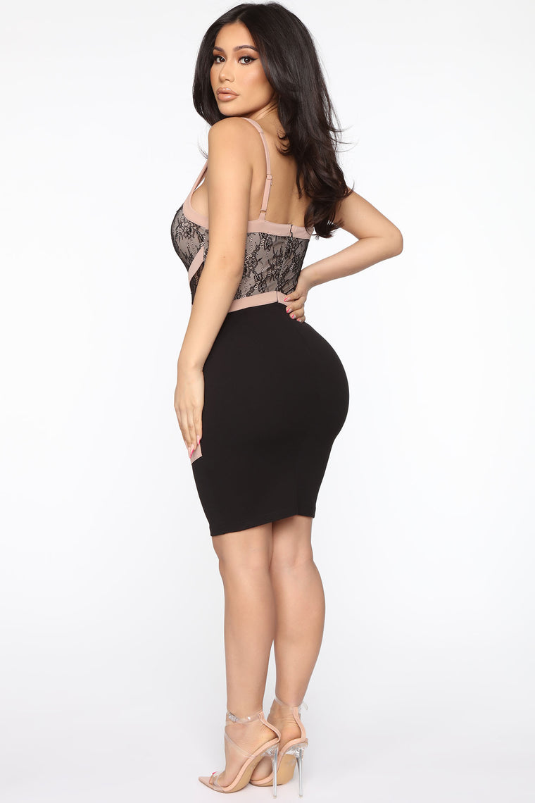 Lace Be More Than Friends Dress - Black/combo