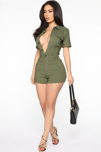 Safari Excursion Romper - Olive Angle 2