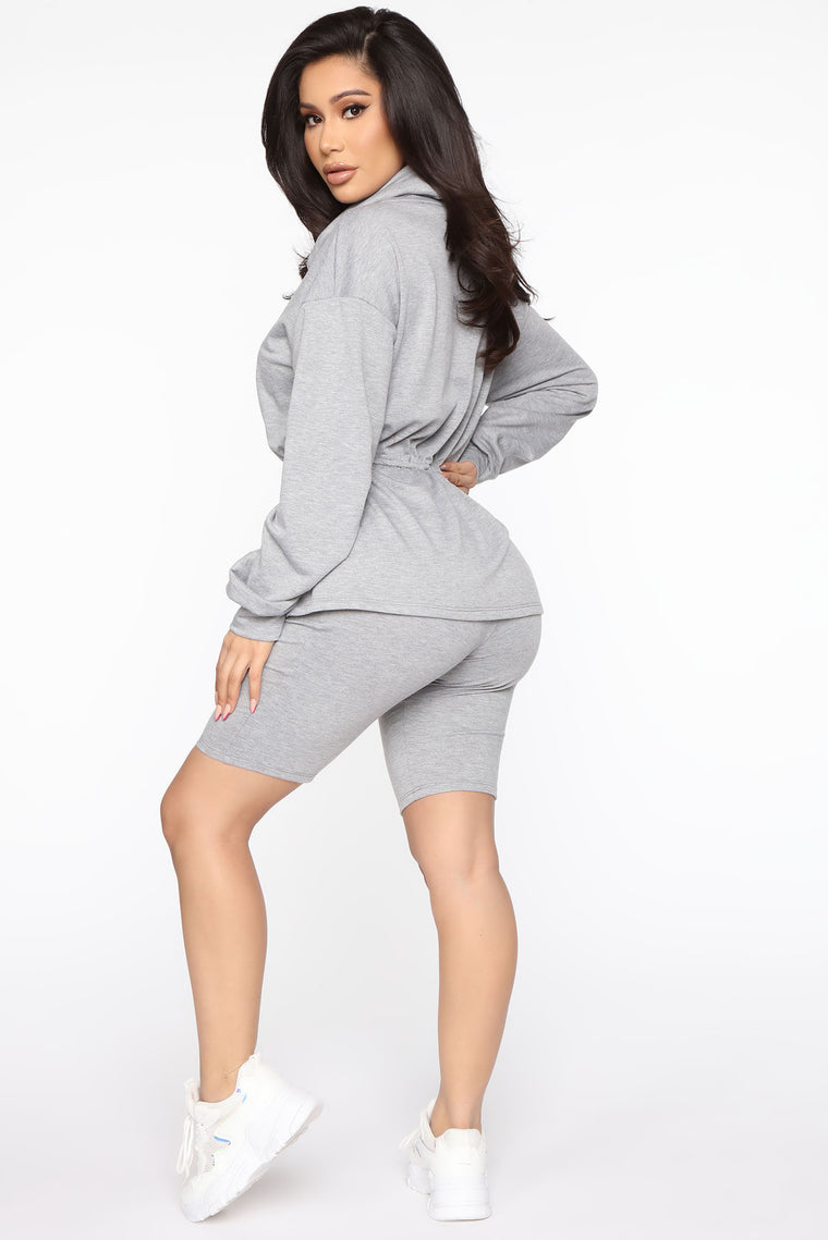 We Are Booked And Busy Biker Short Set - Grey