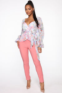 You Can Call Me Boss Lady Belted Pants - Coral Angle 1