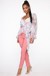 You Can Call Me Boss Lady Belted Pants - Coral Angle 3
