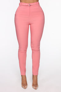 You Can Call Me Boss Lady Belted Pants - Coral Angle 2