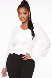 News Travels Fast Smocked Top - White Angle 1