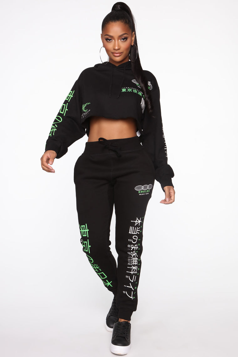 Taking Over Cropped Hoodie - Black