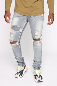 Chase The Money Distressed Skinny Jean - Vintage Blue Wash Angle 1