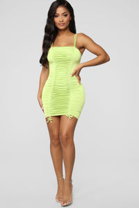 Coming For Your Love Ruched Mini Dress - Lime