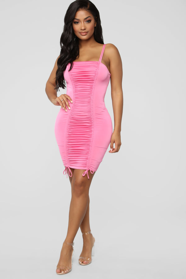 f21f456337 Coming For Your Love Ruched Mini Dress - Pink