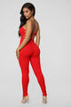 A Little Surprise Lace Up Jumpsuit - Red