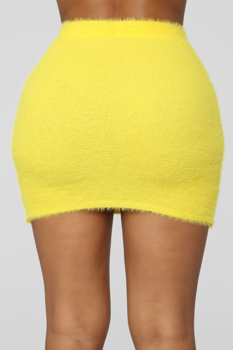 Fuzzy Feels Skirt Set - Yellow