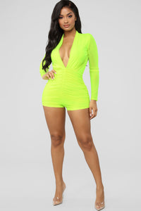 Bright Minds Mesh Romper - Neon Yellow Angle 2