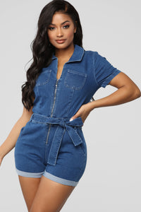 In A Zip Denim Romper - Dark Wash