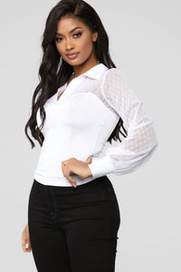 Swiss Dot Collared Top - White