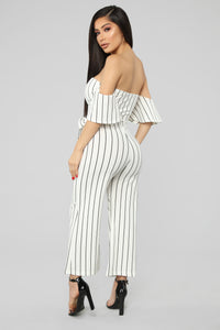 On The Boardwalk Off Shoulder Jumpsuit - White/Black
