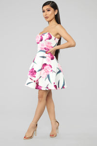 Garden Of Mine Floral Fit And Flare Dress - White/Multi