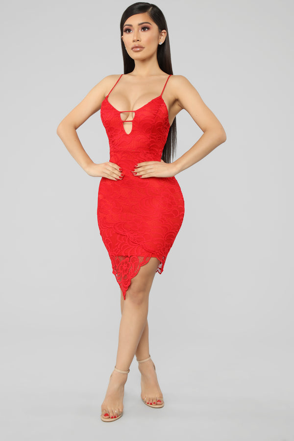 0a54cc83d229 High On Your Love Lace Midi Dress - Red