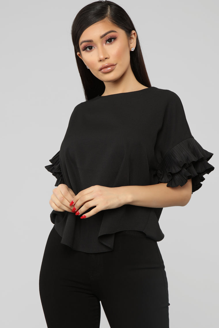 Forever My Ruffles Top   Black by Fashion Nova
