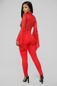 Fame Monster Lace Jumpsuit - Red Angle 5