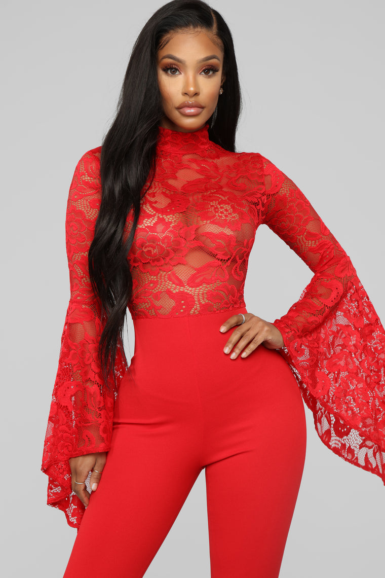 Fame Monster Lace Jumpsuit - Red
