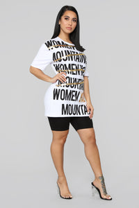 Women Move Mountains Tunic Top - White