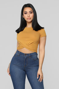 Holly Twist Front Tee - Mustard Angle 1