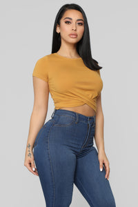 Holly Twist Front Tee - Mustard Angle 3
