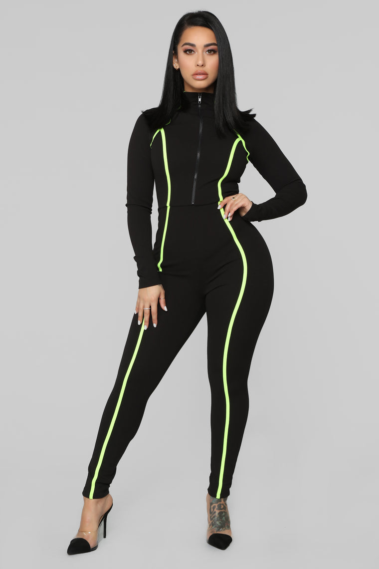97e7fd1fe8b9 From Now On Zip Up Jumpsuit - Black Neon Yellow