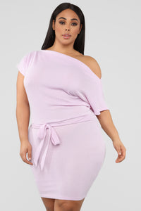 Siren Sounds Ribbed Mini Dress - Lilac Angle 5