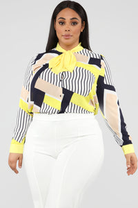 Giving Me Mixed Emotions Top - Yellow/Multi