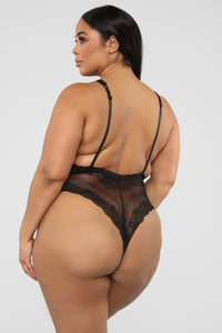 Cross The Line Lace Teddy - Black