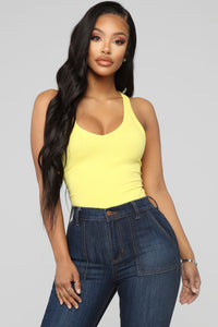 Zoey Racer Back Bodysuit - Yellow