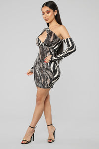 You're An Animal One Shoulder Mini Dress - Black/Combo