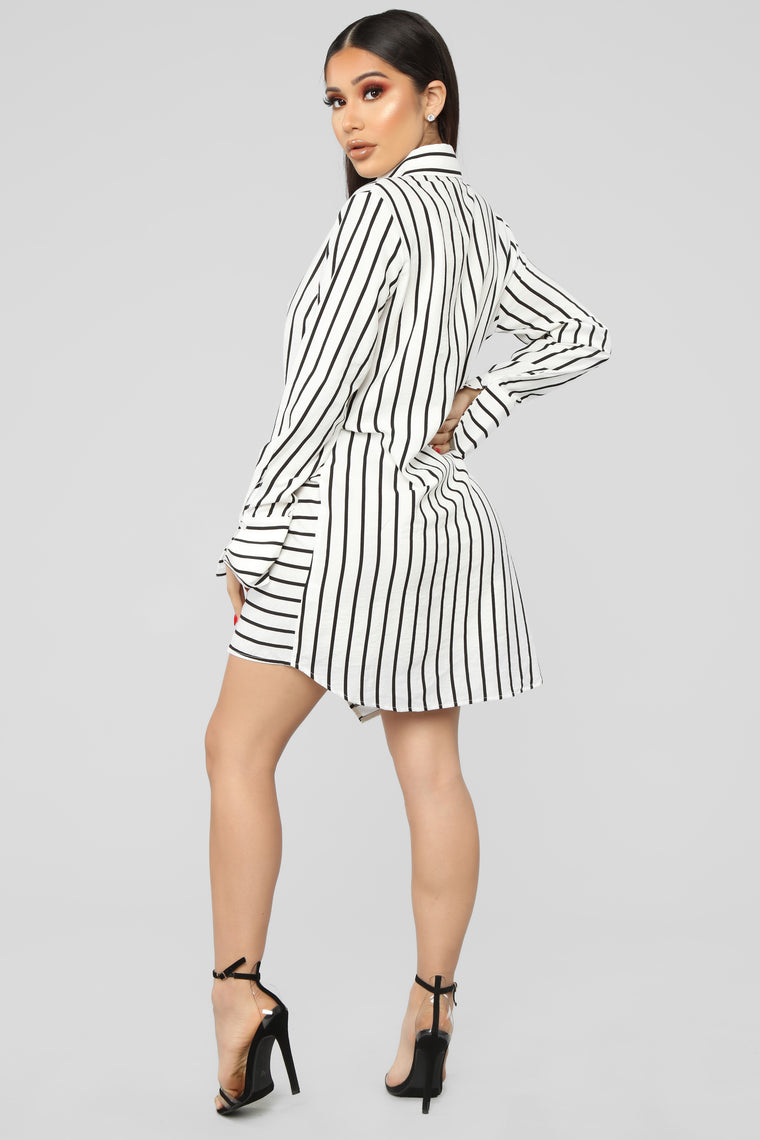Import Business Striped Shirt Dress - White/Black