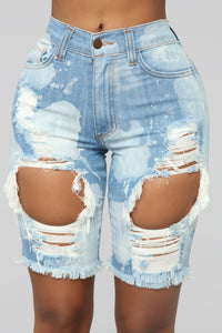 I'll Take A Double Bermuda Shorts - Medium Blue Wash
