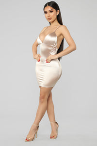 Come And See Me Babe Mini Dress - Champagne