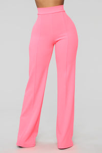 Victoria High Waisted Dress Pants - Neon Pink