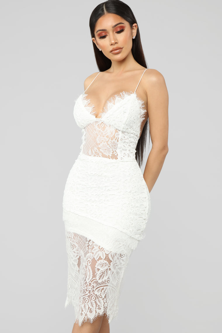 Highly Desired Lace Midi Dress - White