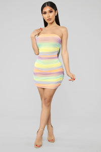 Because I'm Happy Ruched Dress - Multi Color