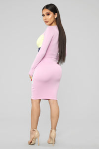 The Perfect Combo Color Block Midi Dress - Pink/combo