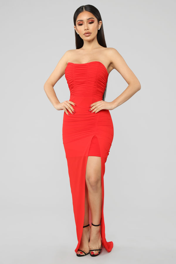 Feelin  Saucy Ruched Maxi Dress - Red 5ca9c064e