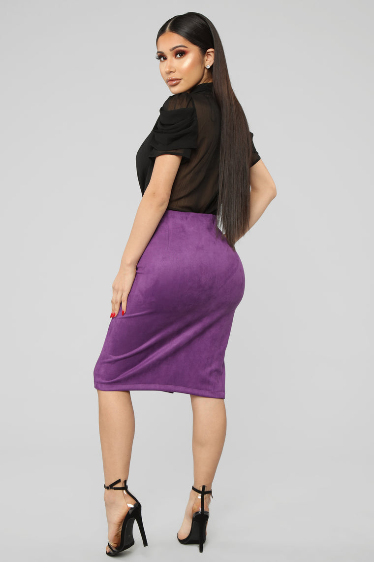 Risque Business Faux Suede Skirt - Plum