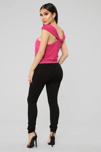 Stay the Night Top - Fuchsia Angle 6